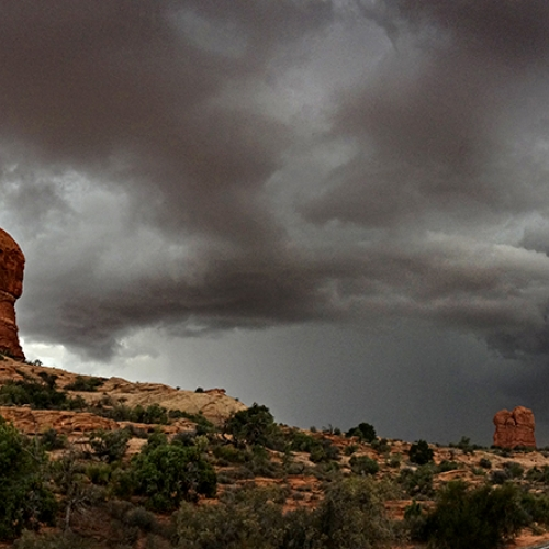 Bronze PGNS Fred Greene - Arches Rain Storm Approaching