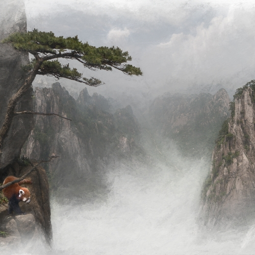 Silver Medal London Camera Club Brent Chambers Huangshan Landscape With Red Panda